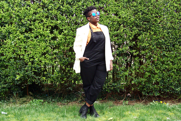 "%ASOS Curve overalls, %American Apparel collared shirt, Vintage blazer, %Vagabond ""Grace"" ankle boots"