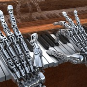 robot hands playing a piano via shutterstock