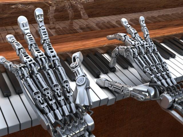 robot hands playing a piano via shutterstock
