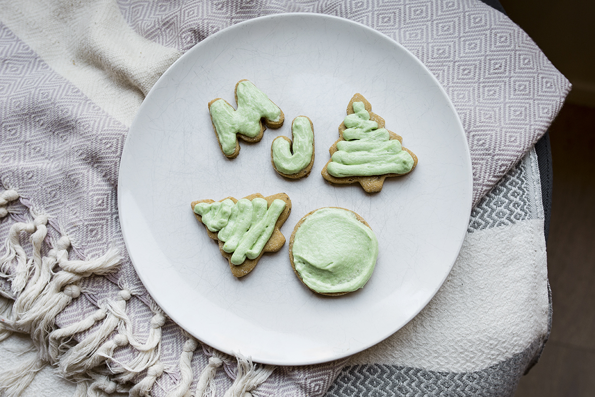 frosted cookies on a plate