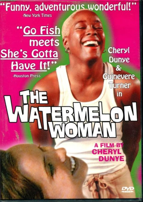 """image shows a white and Black woman laughing widely. There is a pink background and the words """"The Watermelon Woman"""" are on top with reviews for the film."""