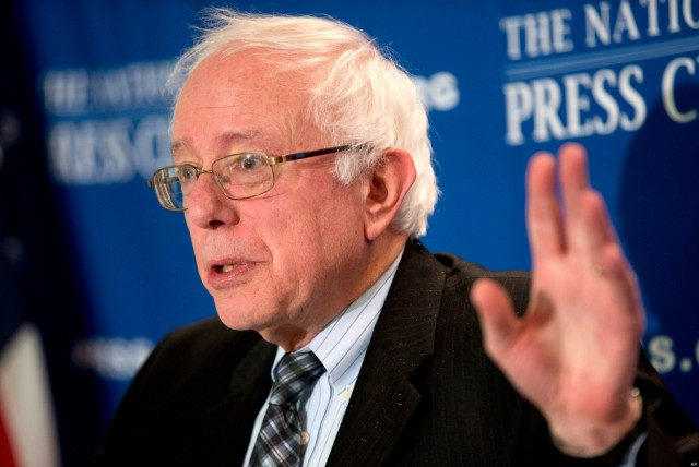 Sen. Bernie Sanders, I-Vt. gestures as he speaks about the fiscal cliff during a news conference at the National Press Club in Washington, Wednesday, Dec. 5, 2012. (AP Photo/Jacquelyn Martin)