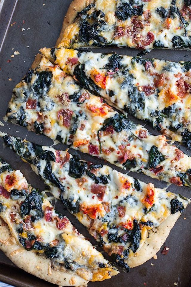 Brown Butter Lobster and Spinach Pizza with Bacon + Fontina