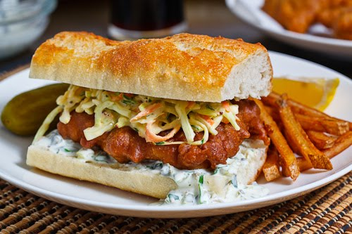 Crispy Beer Battered Fish Sandwich with Coleslaw and Tartar Sauce and ...