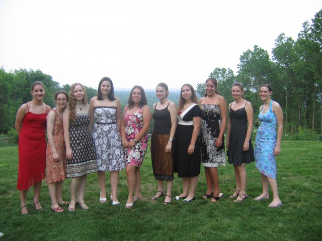 "Technically this was ""senior banquet,"" not prom, but close enough. We're second and third from the left."