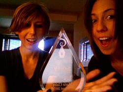 Me & Alex with my sweat drop award, 2007