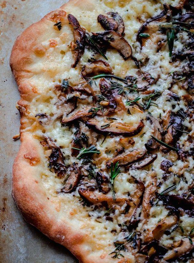 Mushroom Pizza with Havarti Cheese, Fresh Herbs, and White Truffle Oil