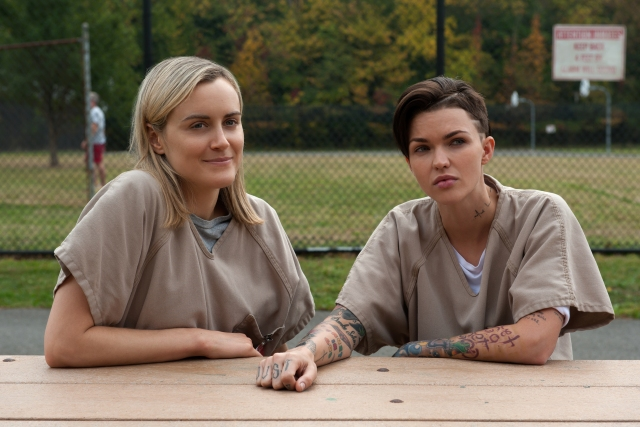 """Taylor Schilling and Ruby Rose in season 3 of Netflix's """"Orange is the New Black."""" Photo Credit: JoJo Whilden/Netflix"""