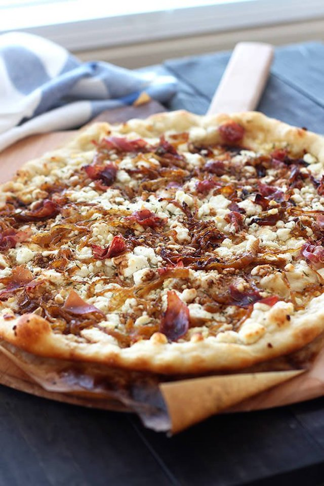 14. Caramelized Onion, Goat Cheese, and Prosciutto Pizza
