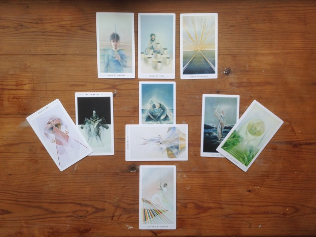 Tarot cards in a relationship tarot spread from Fountain Tarot