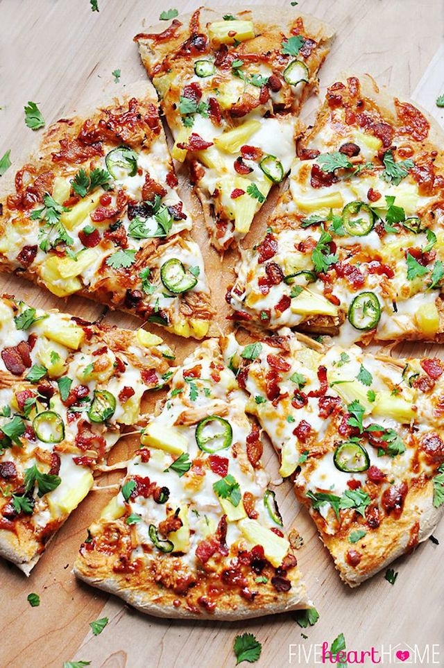 Pineapple Pulled Pork Pizza with Bacon, Jalapenos, & Cilantro