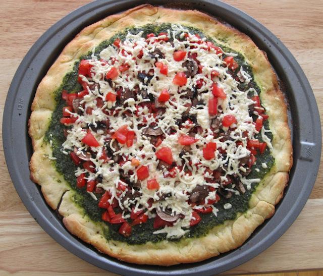 Vegan Basil Pesto Pizza