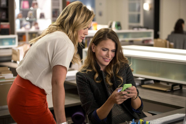 """""""Younger"""" Episode 103 (Airs April 7, 2015)Liza (Sutton Foster) shows Kelsey (Hilary Duff) the new tattoo that Josh did for one of his customers. """"Younger"""" airs Tuesdays at 10pm ET/PT on TV Land."""