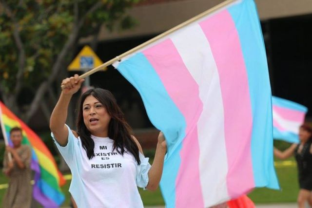 Gutiérrez during a protest against the detention of LGBTQ immigrants via