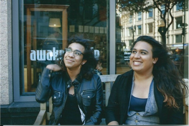 Brouhaha trainer Luna Merbruja left and project director Lexi Adsit right in downtown Oakland (2)