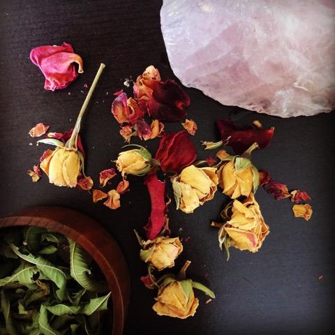 Spirit Offerings of Rose petals and Lemon Verbena