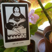 The Six of Cups, from Thea's Tarot by Ruth West