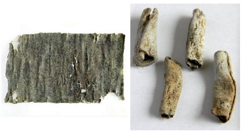 folded lead tablets used to perform binding spells; at left, a woman binds her lover to her