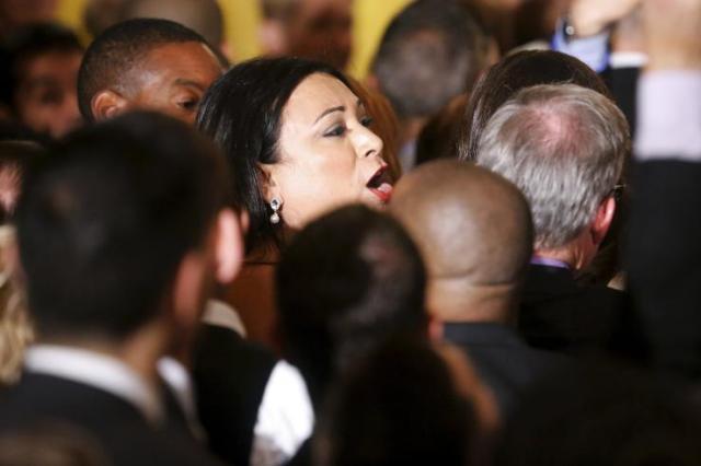 Jennicet Gutiérrez at the White House via REUTERS/Jonathan Ernst