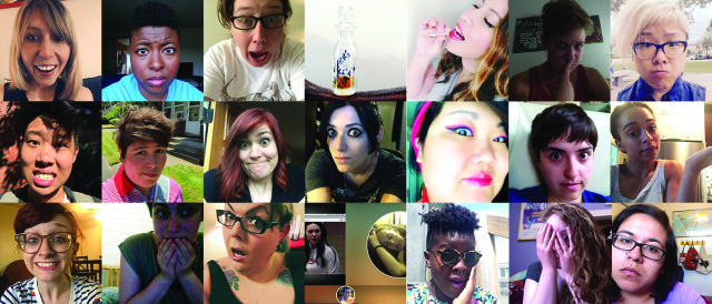 Top row, L to R: Riese, Brittani, Heather, Vial of Piper's white girl tears, Aja drinking Piper's white girl tears, Audrey, Yao Middle row, L to R: Robin, Alley, Lizz, Stef, KaeLyn, Maddie, Hannah Bottom row, L to R: Chelsey, Carmen, Mari, Gabby and Laura watching Alex Vause together via the internet, Lydia, Rachel, Yvonne