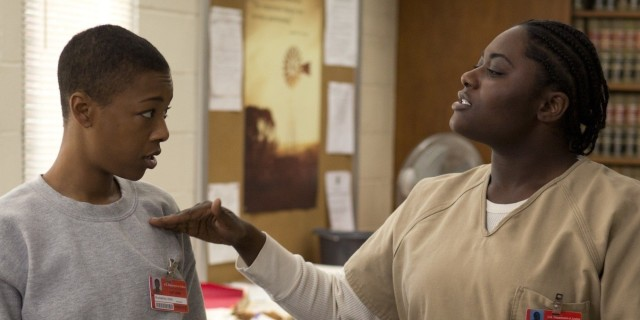 "Samira Wiley (L) and Danielle Brooks (R) in a scene from Netflix's ""Orange is the New Black"" Season 2. Photo credit: Jessica Miglio for Netflix."