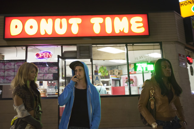 Kitana Kiki Rodriguez, James Ransone and Mya Taylor in TANGERINE, a Magnolia Pictures release. Photo courtesy of Magnolia Pictures.