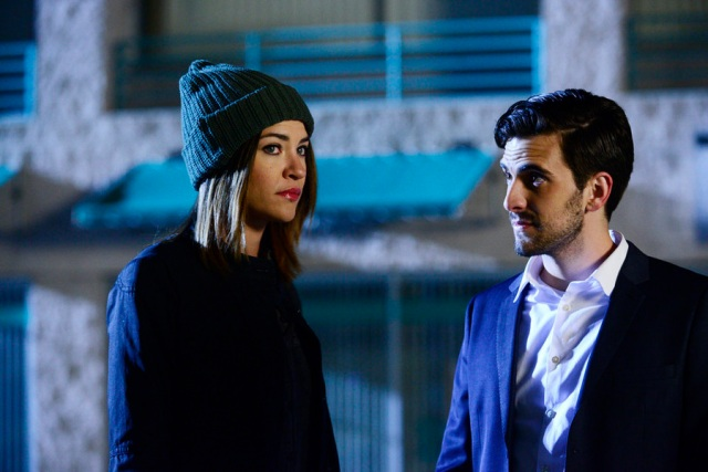 "COMPLICATIONS -- ""Fever"" Episode 106 -- Pictured: (l-r) Jessica Szohr as Gretchen Polk, Matt Angel as Wes -- (Photo by: Guy D'Alema/USA Network)"