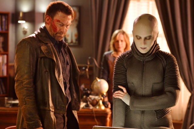 "DEFIANCE -- ""My Name is Datak Tarr and I Have Come to Kill You"" Episode 308 -- Pictured: (l-r) Grant Bowler as Joshua Nolan, Trenna Keating as Doc Yewll -- (Photo by: Ben Mark Holzberg/Syfy)"