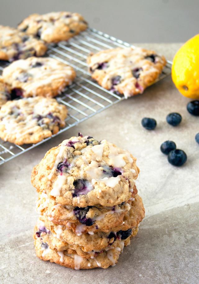 Blueberry Oatmeal Cookies with Lemon Glaze