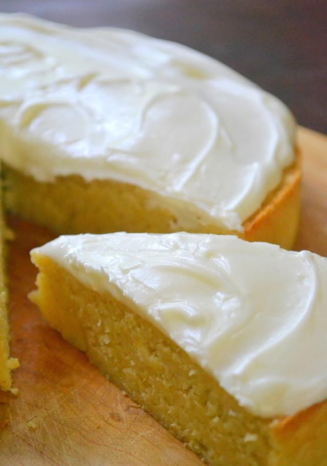 Lemon Pear Polenta Cake