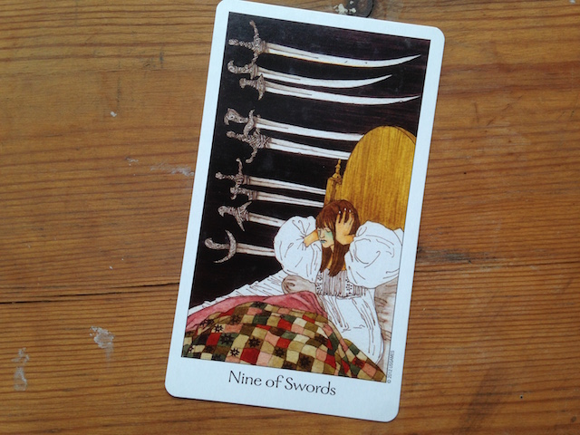 Nine of Swords, from the Dreaming Way Tarot