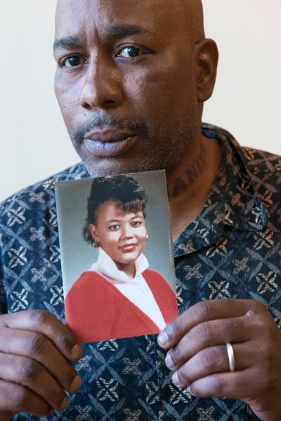 Vernon Turner with a photo of his late wife. Photo credit Joe Marino, New York Daily News