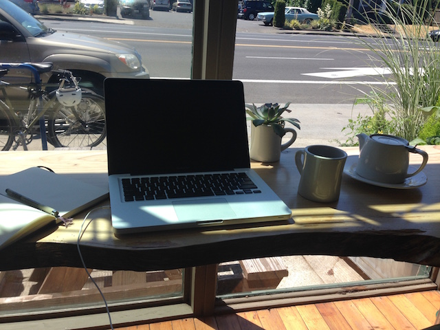 Flexible working: Emilie's coffee shop workstation.