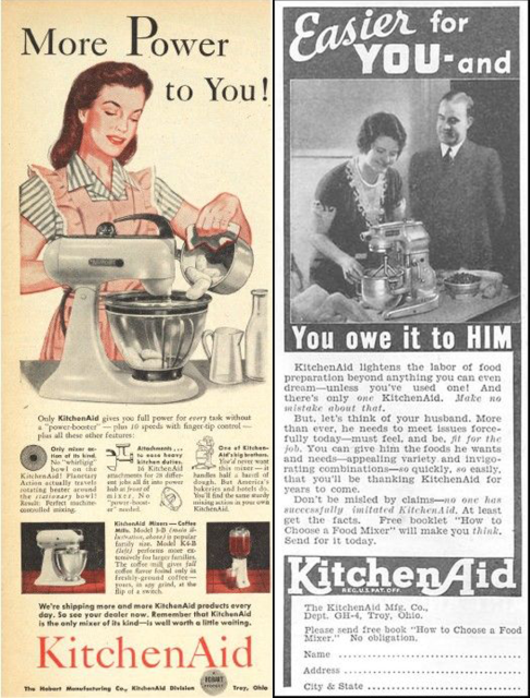 Vintage KitchenAid ads range from kitschy (1946) to horribly sexist (1935).