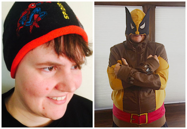 Waffle, 33-year-old wonder boi and life companion of KaeLyn, is rocking a Spiderman hat from the kids' section and a very chic adult-sized Wolverine hoodie.