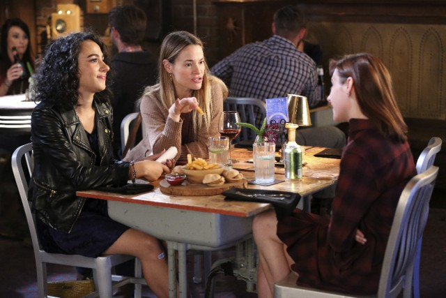 "CHASING LIFE - ""Truly Madly Deeply"" - April and Leo are in the throes of wedding planning and coming at crossroads when Sara suggests they take a newlywed quiz to help them learn more about each other. But instead of bringing the two closer together, the quiz proves that the two aren't truly being honest. This is a hard blow for April as she is also dealing with the realization that her father might not have been the guy she thought he was. Meanwhile, Sara and Beth try to take a night off from dating drama as Brenna finds herself in a big mess with Margo's crazy ex (Leisha Hailey), on an all new episode of ""Chasing Life"" airing Monday, July 27 at 9:00 p.m. ET/PT on ABC Family. (ABC Family/Adam Taylor) AURORA PERRINEAU, LEISHA HAILEY, HALEY RAMM"