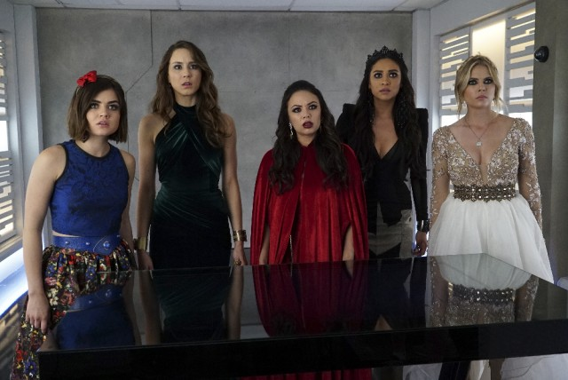 "PRETTY LITTLE LIARS - ""Game Over Charles"" - ""A"" is revealed, and all of the questions are answered, in ""Game Over Charles,"" the summer finale of ABC Family's hit original series ""Pretty Little Liars,"" airing Tuesday, August 11th (8:00 - 9:00 PM ET/PT). (ABC Family/Eric McCandless) LUCY HALE, TROIAN BELLISARIO, JANEL PARRISH, SHAY MITCHELL, ASHLEY BENSON"