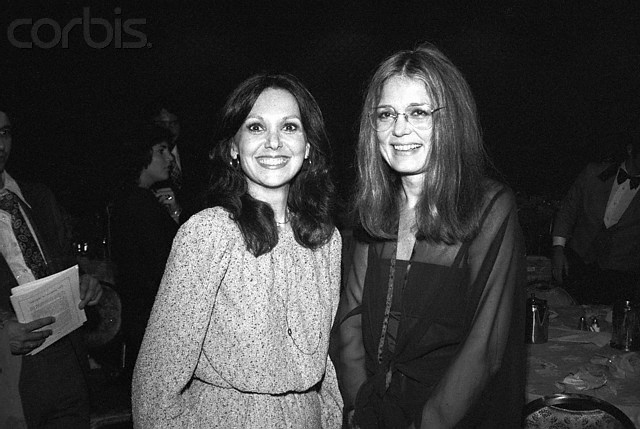 09 Dec 1978 --- Original caption: Feminist Gloria Steinem congratulates Actress Marlo Thomas (R) following Miss Thomas winning the Tom Paine Award from the National Emergency Civil Liberties Committee for her efforts in support of women's rights and the Equal Rights Amendment and her special work and interest in children's problems. Both attended the NECLC Bill of Rights dinner late 12/8 at the Americana Hotel. --- Image by © Bettmann/CORBIS