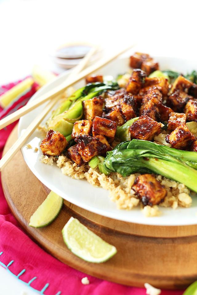 31. Crispy Peanut Tofu & Cauliflower Rice Stir Fry