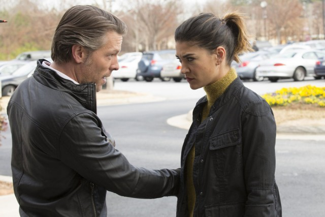 "COMPLICATIONS -- ""Critical Condition"" Episode 109 -- Pictured: (l-r) Miles Doleac as Dr. Ian Blair, Jessica Szohr as Gretchen Polk -- (Photo by: Bob Mahoney/USA Network)"