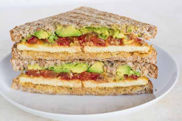 "... Chickpea, Avocado and Roasted Tomato Sandwich with ""Cheesy"" Tofu"