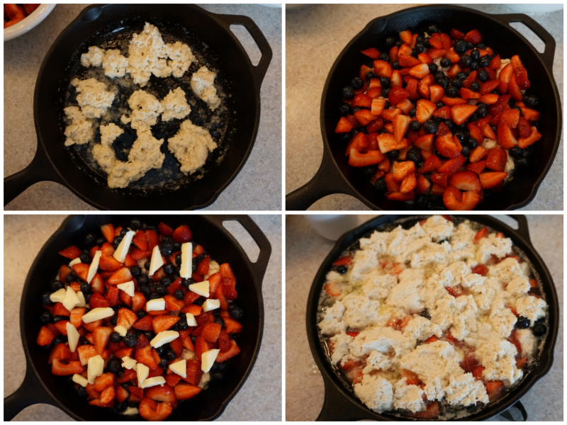 Clockwise from top left: dough on the bottom; berries; butter; boiling water, more dough and sugar.