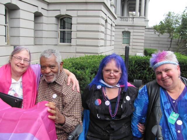 Longtime bisexual activists Lou Hoffman, ABilly Jones-Hennin, Lynnette MFadzen and Loraine Hutchins outside the White House. Photo courtesy Lynnette MFadzen.