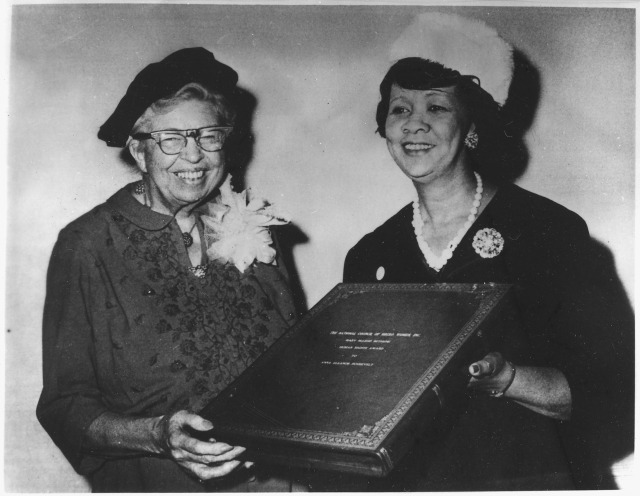 Eleanor_Roosevelt_receiving_the_Mary_McLeod_Bethune_Human_Rights_Award_from_Dorothy_Height,_president_of_the_National..._-_NARA_-_196283
