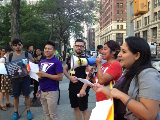 Aurea Martinez of the Detention Watch Network speaks to the crowd assembled outside ICE Headquarters in New York. photo by the author