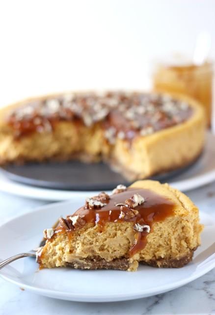 28. Pumpkin Pecan Cheesecake with Salted Caramel Sauce