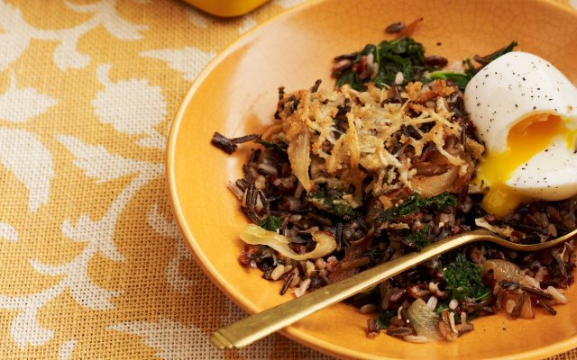 Baked Wild Rice with Kale, Caramelized Onions, and Soft-Cooked Eggs