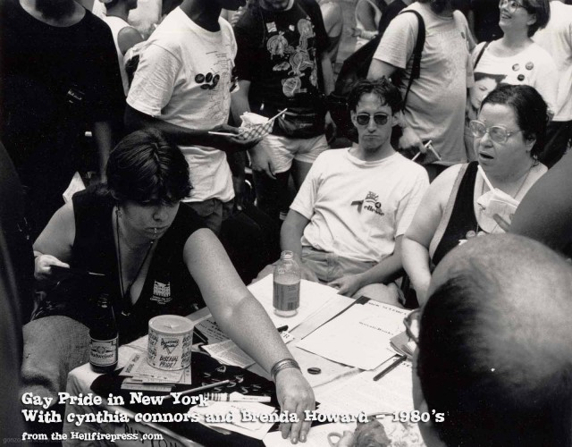 Brenda Howard distributes materials with other bi activists at a Gay Pride event in New York in the 1980s. Photo by Efrain Gonzalez.