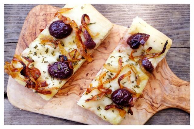 Caramelized Onion, Rosemary & Olive Focaccia