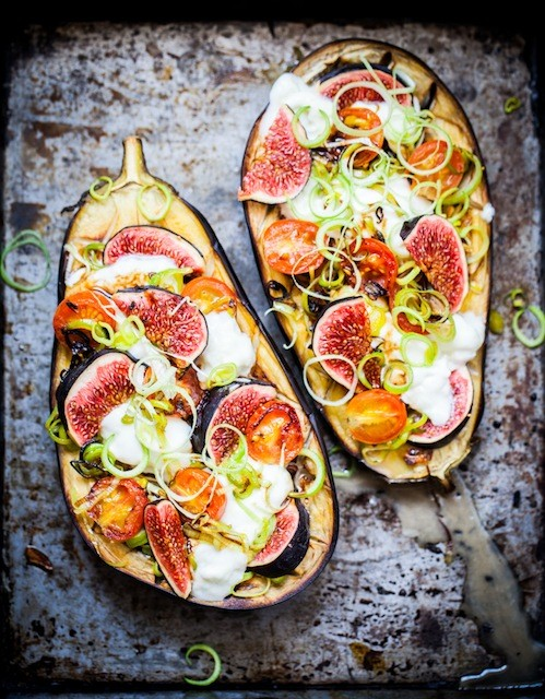 Eggplant with California Figs and Leek